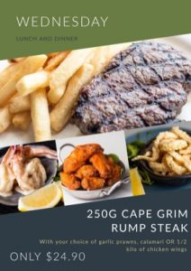 Wednesday – Rump Steak & Chips