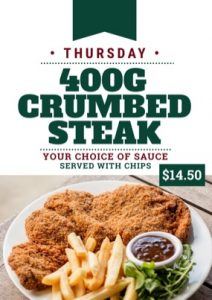 Thursday - Crumbed Steak Dinner