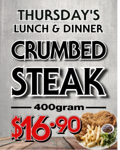 Thursday - Crumbed Steak Lunch